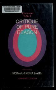 Cover of: Critique of pure reason | Immanuel Kant