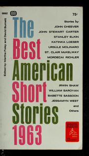 Cover of: The best American Short Stories, 1963 | Martha Foley