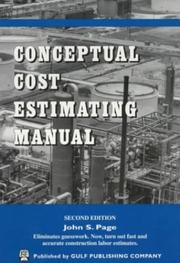 Cover of: Conceptual cost estimating manual