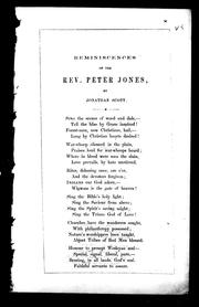 Cover of: Reminiscences of the Rev. Peter Jones | Scott, Jonathan