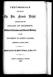 Testimonials in favor of the Rev. Francis Nichol [i.e. Nicol] by Francis Nicol