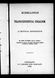 Cover of: Schelling's transcendental idealism
