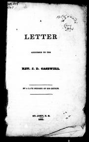 Cover of: Letter addressed to the Rev. J.D. Casewell | James Holman