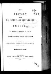 Cover of: The history of the discovery and settlement of America