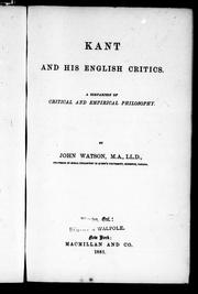 Cover of: Kant and his English critics