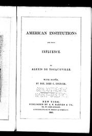 Cover of: American institutions and their influence