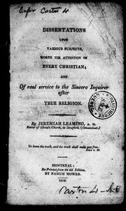 Cover of: Dissertations upon various subjects, worth the attention of every Christian, and of real service to the sincere inquirer after true religion