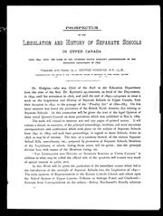 Cover of: Prospectus of the legislation and history of separate schools in Upper Canada