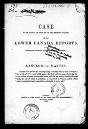 Cover of: Case, to be found at page 36 of the second volume of the Lower Canada Reports