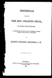 Testimonials in favor of the Rev. Francis Nicol, St. John's, Newfoundland by Francis Nicol