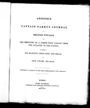 Cover of: Appendix [to] Captain Parry's journal [of a] second voyage [for] the discovery of a North West passage from the Atlantic to the Pacific