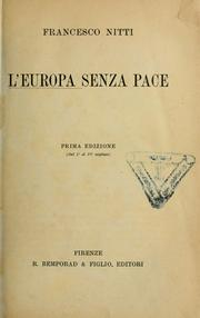 Cover of: L'Europa senza pace