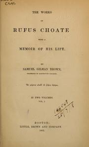 Cover of: The works of Rufus Choate