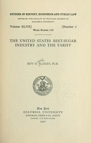 Cover of: The United States beet-sugar industry and the tariff