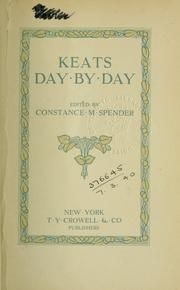 Cover of: Keats day by day