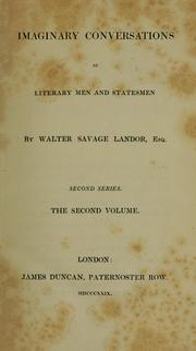 Cover of: Imaginary conversations of literary men and statesmen