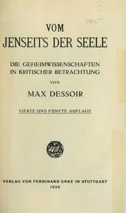 Cover of: Vom jenseits der Seele