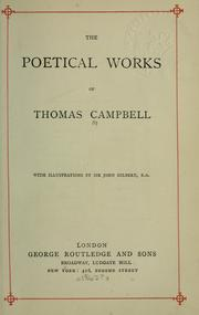 Cover of: Poetical works | Thomas Campbell