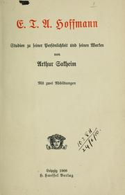 Cover of: E.T.A. Hoffmann