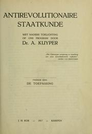 Cover of: Antirevolutionaire staatkunde
