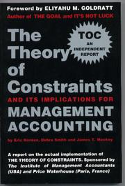 Cover of: The theory of constraints and its implications for management accounting