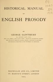 Cover of: Historical manual of English prosody