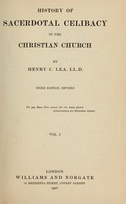 Cover of: History of sacerdotal celibacy in the Christian church