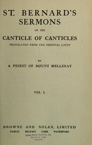 Cover of: St. Bernard's sermons on the Canticle of Canticles