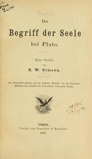 Cover of: Der Begriff der Seele bei Plato by E.W. Simson