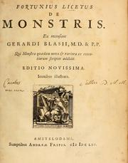 Cover of: Fortunius Licetus De monstris by Fortunio Liceti