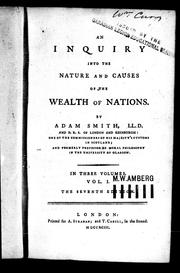 Cover of: An inquiry into the nature and causes of the wealth of nations