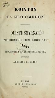 Cover of: Posthomericorum libri XIV