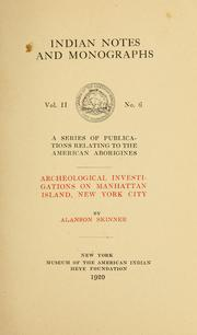 Cover of: Archeological investigations on Manhattan island, New York city
