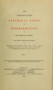 Cover of: The Anglo-Latin satirical poets and epigrammatists of the twelfth century