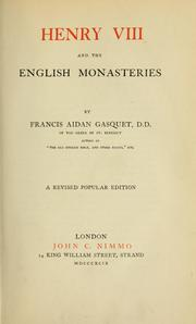 Cover of: Henry VIII and the English monasteries