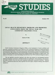 Cover of: Local health department problems and priorities | Kathryn P. Blue