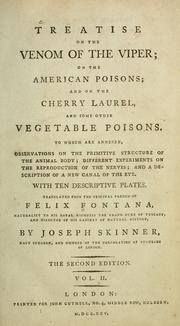 Cover of: Treatise on the venom of the viper, on the American poisons, and on the cherry laurel, and some other vegetable poisons | Fontana, Felice