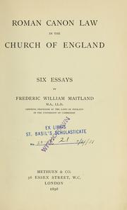 Cover of: Roman canon law in the church of England