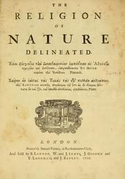 Cover of: The religion of nature delineated...
