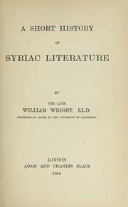 Cover of: A short history of Syriac literature