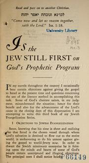 Cover of: Is the Jew still first on God