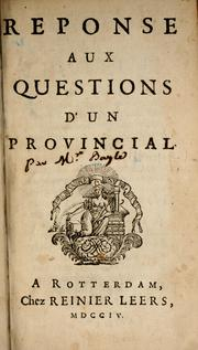 Cover of: Reponse aux questions d'un provincial