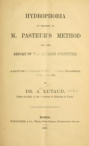 Cover of: Hydrophobia in relation to M. Pasteur