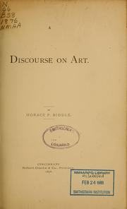 Cover of: A discourse on art | Horace Peters Biddle