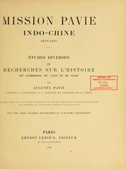 Cover of: Mission Pavie Indo-Chine, 1879-1895