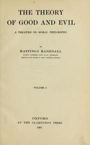 Cover of: The theory of good and evil