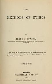 Cover of: The methods of ethics