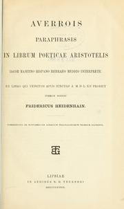 Cover of: Paraphrasis in librum Poeticae Aristotelis
