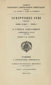 Cover of: S. Cyrilli Alexandrini Commentarii in Lucam