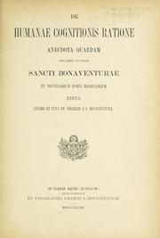 Cover of: De humanae cognitionis ratione